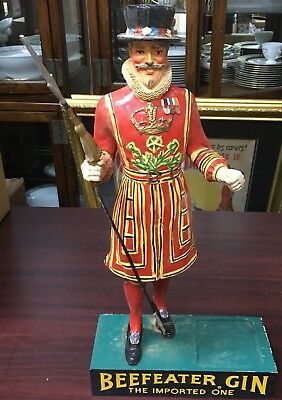 Vintage Hand Painted Beefeater Gin Back Bar Display Statue