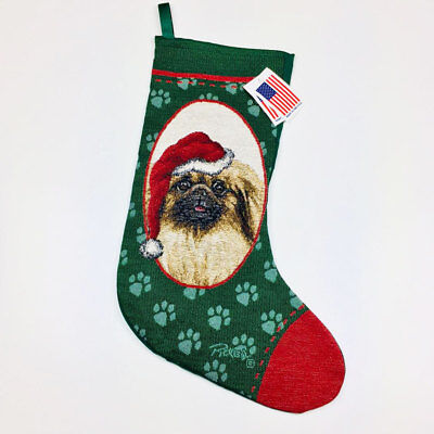 Pekingese Tapestry Christmas Stocking ~ Artist, Linda Picken
