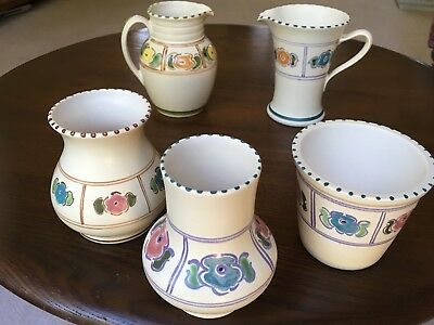 Honiton Pottery - Vase, Jug & Flower Pot  - 5 Pieces Of Vintage Studio Pottery