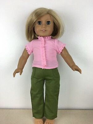 "Doll Clothes fits 18"" American Girl pink top with pocketed green jeans 036"
