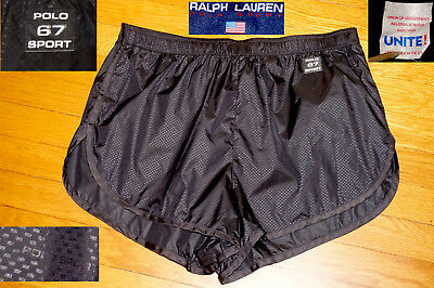 Vtg Polo Sport Ralph Lauren Sprinter Shorts Black Lite Nylon USA EC M men