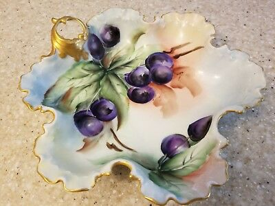 Antique Rosenthal Hand Painted Gold Plum Fruit Bowl