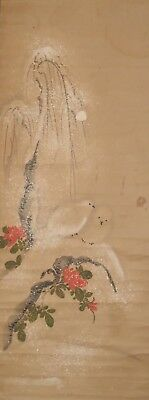 #0803 Japanese Hanging Scroll: Pigeon and Camellia