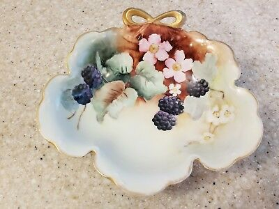 Antique JHR Bavaria Hand Painted Gold Blackberry Fruit Bowl