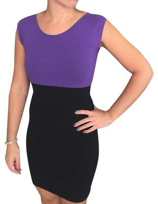 American Apparel Black and Purple Casual Two Tone Mini Dress Size UK SMALL
