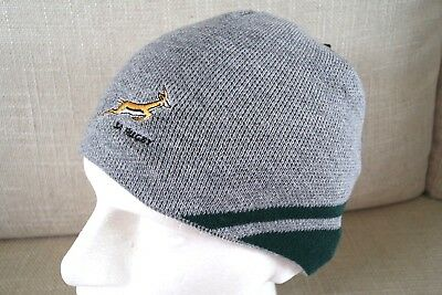 SOUTH AFRICA ASICS SPRINGBOKS GREY RUGBY Beanie Hat Toque Adult 56cm ... 7a420395fee