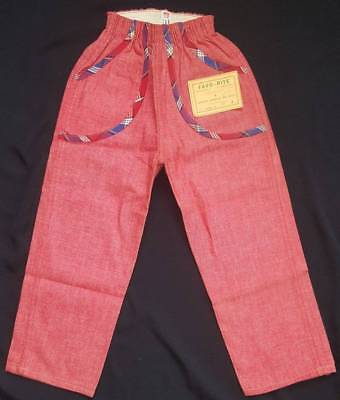 KINGCOT Vtg 1950s Girls RED Cotton Chambray Play Pants w Plaid Details NOS 4