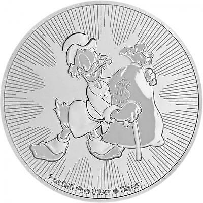 2018 $2 Niue Silver Scrooge McDuck Disney .999 1 oz Brilliant Uncirculated