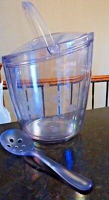 Pampered Chef Ice Bucket 2836 - Clear acrylic, w/ lid & scoop, polka dots FS i i
