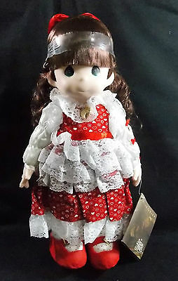 "Precious Moments Doll Rachael  w/Gold Locket  #1029 w/Tags 16"" Red and White"
