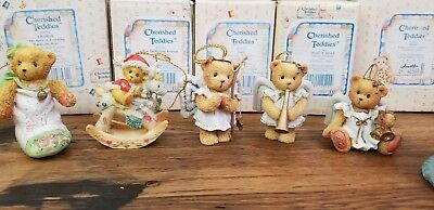 VTG Vintage LOT OF 5 Cherished Teddies Christmas Tree Holiday Hanging Ornaments