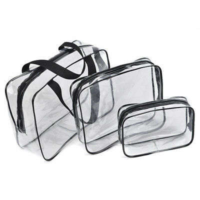 3 Sizes Clear Transparent Plastic PVC Travel Makeup Cosmetic Toiletry Zip Bag UK