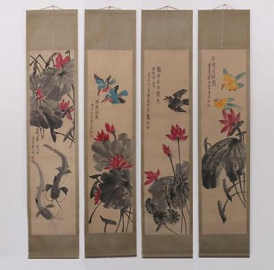 Very Rare Four Chinese Hand Painting Scroll Qi Baishi Marked (447)