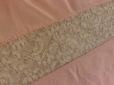 Antique Vintage French silk And Lace Top Sheet Bedspread pink Peach Full Size #2