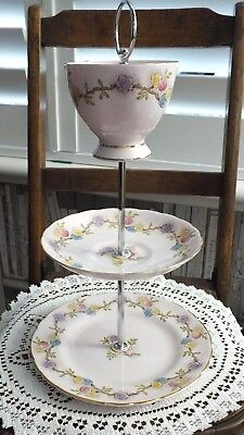 Vintage 3 tier Biscuit Cake Stand With Cup Top Tuscan China Pale Pink Wedding
