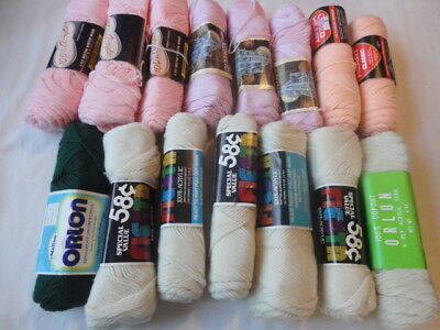 LOT OF 15 SKEINS OF VINTAGE  Acrylic YARN Assorted Colors