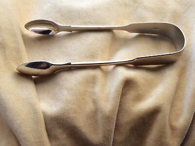 Large Victorian Solid Silver Sugar Tongs by Henry Holland London 18