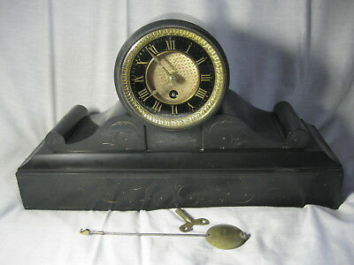 ANTIQUE SOLID MARBLE / SLATE Mantel CLOCK, DRUM, VERY NICE INDEED