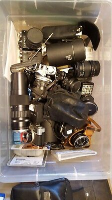 Box Of Assorted Lenses ,old Cameras and flash units
