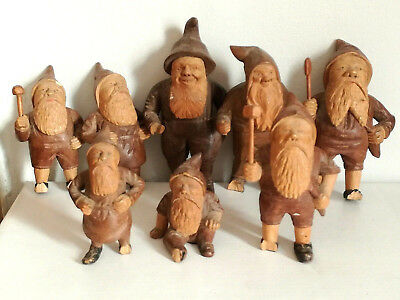 Old Antique Lot Collection Carved Wooden Treen Black Forest German Gnomes Dwarfs