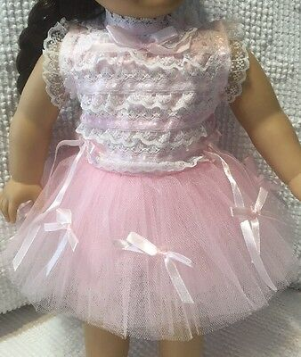 American Doll   Pink Party Dress  New Made In 1980  In USA Ooak  2 Piece  Plus 1