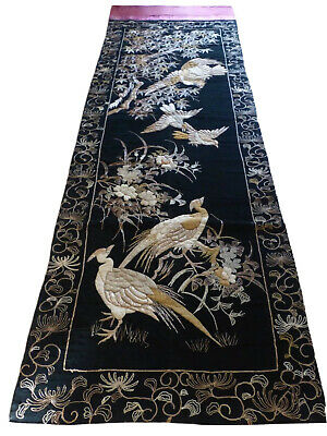 """Antique Japanese Gold Thread Embroidered Silk Huge Panel 129.5"""" L By 39.5"""" W"""