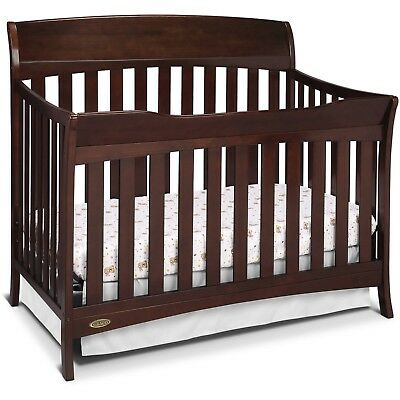 Convertible Crib 4 1 nursery toddler bed daybed full size Espresso Brown wood