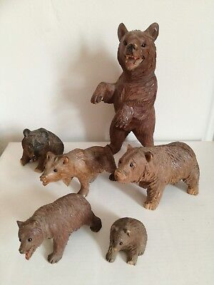 Old Antique Lot Collection Carved Wood Wooden Treen Black Forest German Bears