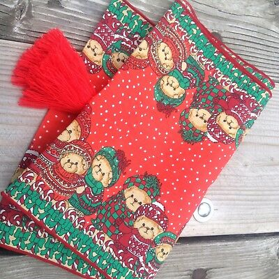 Rare Lucy & Me Bears Christmas Table Runner Vintage Red Tassel Ends