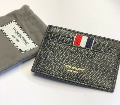 93fc5485d2 THOM BROWNE BLACK pebble grain Leather Wallet Credit Card Holder ...