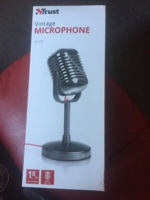 Trust Elvii Vintage Microphone And Stand For PC, Laptop With 3.5mm Plug