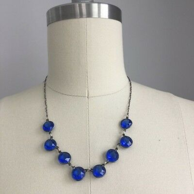 Antique Vintage 1920's Art Deco Sterling Silver and Blue Glass Necklace