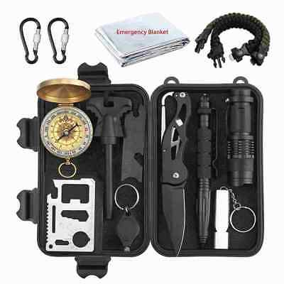 Emergency Survival Kit 13 in 1, Mini Survival Gear Kit Outdoor Survival Too E1W2