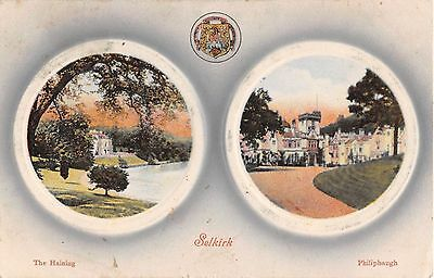 Scotland postcard Selkirk multiview postcard ca 1910, the Haining & Philiphaugh