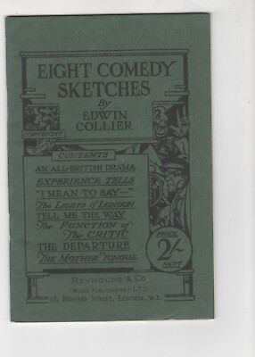 "Vintage Booklet ""eight Comedy Sketches"" Edwin Collier Reynold's Theatre Stage"