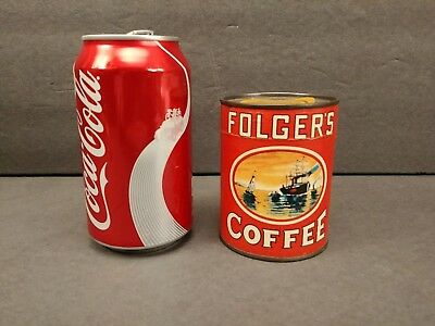 """Vintage Unopened Folger's Coffee Puzzle In a Cardboard Can 3-1/2"""" Tall Advert."""