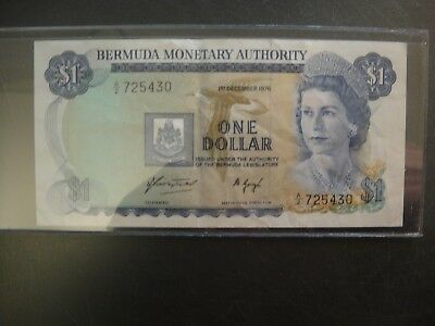 1976 Bermuda $1 Note. Better Type 1.12.1976. KM 28a. Very Fine to Extra Fine.