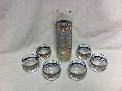 CULVER 22K Gold Blue MCM Double Lip Martini Cocktail Pitcher 6 Roly Poly Glasses