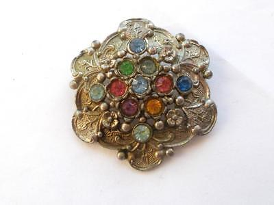 Vintage 1950's Art Deco Czech Glass Crystal Colourful Silver Tone Brooch -L/n 25