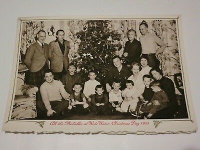 Vintage CHRISTMAS TREE Mid Century MCM Melville Family Photo Card 1956