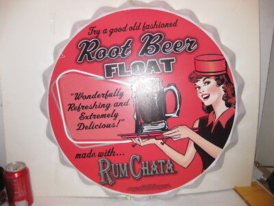 RUM CHATA Bottle Top Design Metal 22 inch Round Sign