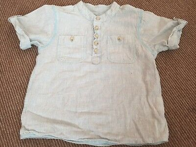 Boy's Green and White Striped Shirt. Age 2-3 Years.