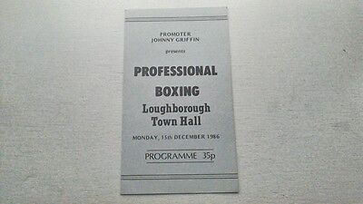 Loughborough Town Hall Professional Boxing Programme 1986