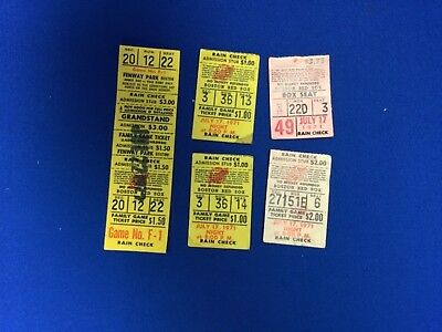 Baseball Ticket Stubs (5) Red Sox 1971 - 1972 Yaz HRs