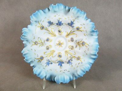 c1890 VICTORIAN Shaded Blue BRIDE'S BOWL~~Enamel Decoration