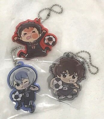 Days, Lot of 3 Soccer Squish Up Acrylic Keychains, Haibara, Usui and Tsukamoto