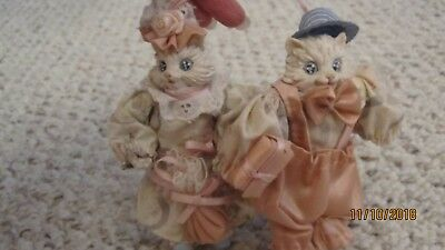 Set Of Two Vintage Victorian Hand Painted Cat Ornaments, Mint
