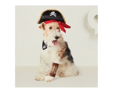NEW sz M/L dog pet Pirate Halloween costume outfit hat wooden leg sleeve collar