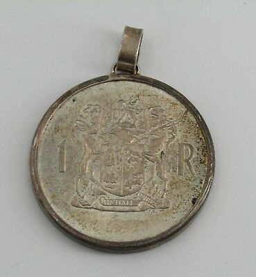 1969 South Africa Suid 1 RAND .800 Silver Coin Sterling Coin Bezel Pendant #R999