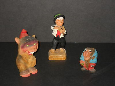 Vintage NorwayHenning Hand Carved Wood Boy and Troll Gnome Lot of 3